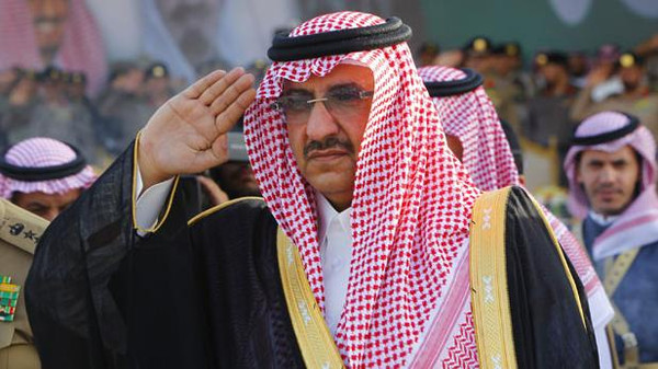 Saudi Prince Mohammed bin Nayef salute during a Saudi special forces graduation ceremony near Riyadh
